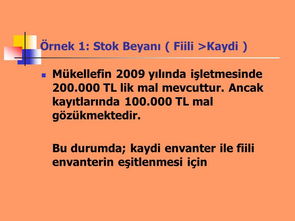Örnek 1: Stok Beyanı ( Fiili >Kaydi ) Mükellefin 2009 yılında işletmesinde 200.000 TL lik mal mevcuttur. Ancak kayıtlarında 100.000 TL mal gözükmekted