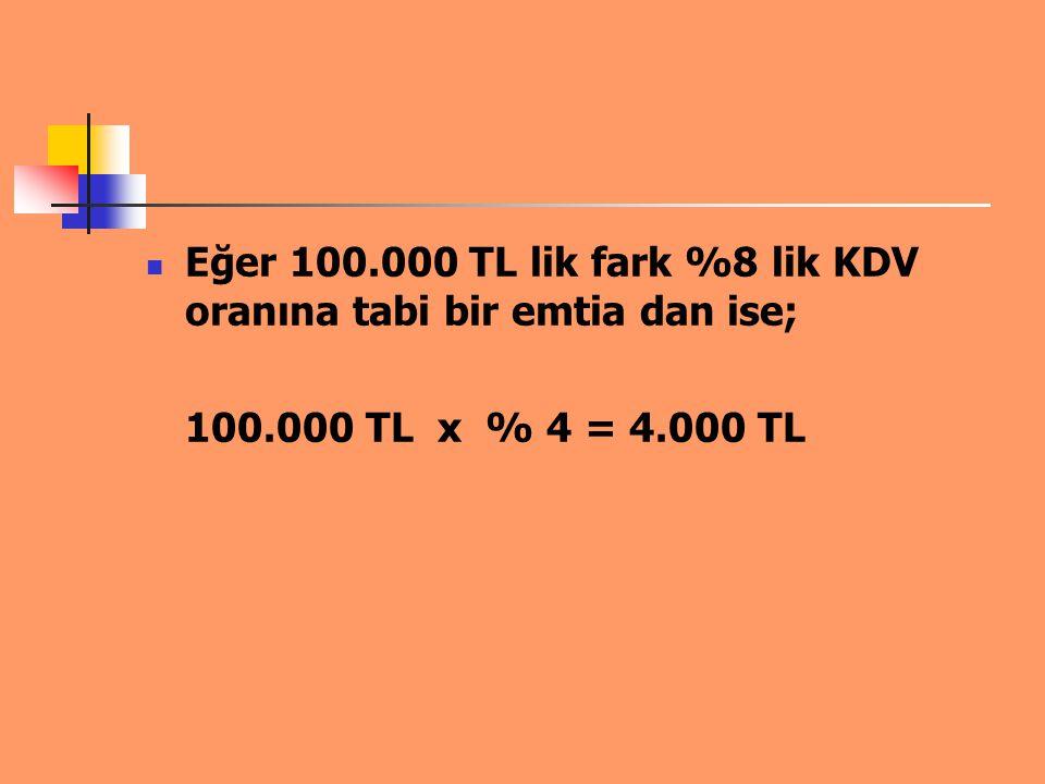 Eğer 100.000 TL lik farkın 80.000 TL si %8 lik emtia ( İlaç ), 20.000 TL si %18 lik emtia ( İtriyat ve Kozmetik ) oluşmakta ise; 80.000 TL x % 4 = 3.200 TL 20.000 TL x % 10= 2.000 TL olmak üzere 5.200 TL ödenecektir.
