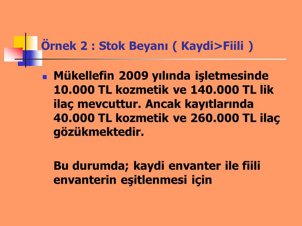 Örnek 2 : Stok Beyanı ( Kaydi>Fiili ) Mükellefin 2009 yılında işletmesinde 10.000 TL kozmetik ve 140.000 TL lik ilaç mevcuttur. Ancak kayıtlarında 40.