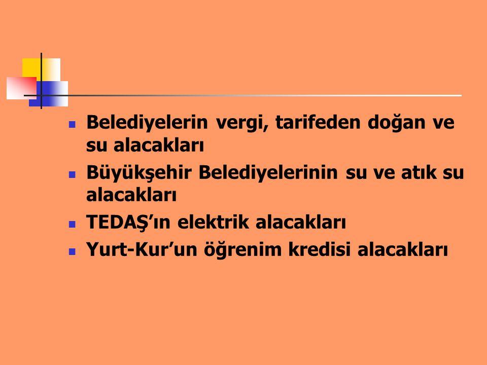 TRT'nin Elektrik Payı ve Bandrol Ücretlerinden Kaynaklanan Alacakları Kosgeb'in desteklerden kaynaklanan alacakları TOBB'un ve bağlı odalarının aidat alacakları OSB'nin elektrik, su, doğalgaz alacakları ile yönetim aidat alacakları
