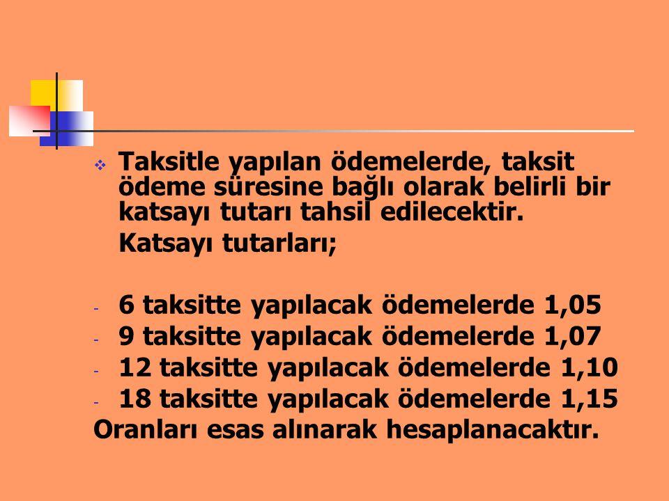 Örnek: Kanun kapsamında hesaplanan 100 TL borç, - 6 taksitte toplam 105 TL - 9 taksitte toplam 107 TL - 12 taksitte toplam 110 TL - 18 taksitte toplam 115 TL Olarak ödenecektir.