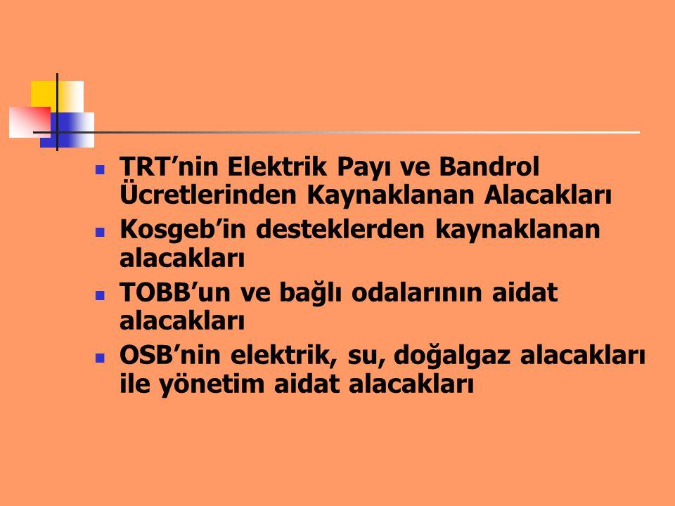 TRT'nin Elektrik Payı ve Bandrol Ücretlerinden Kaynaklanan Alacakları Kosgeb'in desteklerden kaynaklanan alacakları TOBB'un ve bağlı odalarının aidat