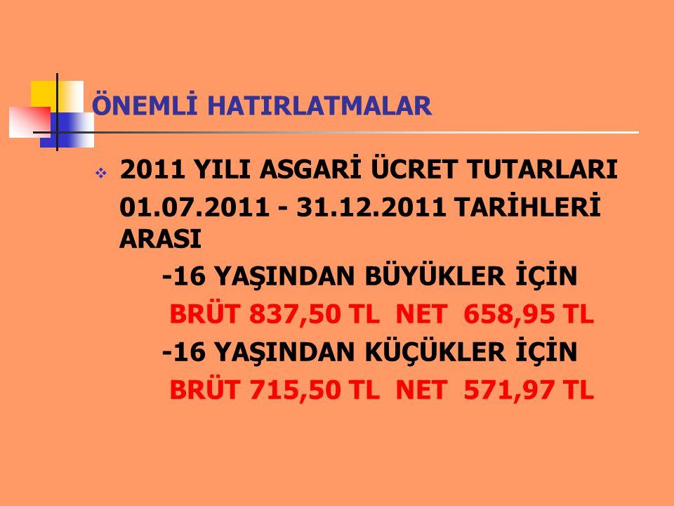 ÖNEMLİ HATIRLATMALAR  2011 yılı fatura düzenleme ve demirbaş sınırı 700,00 TL dir.