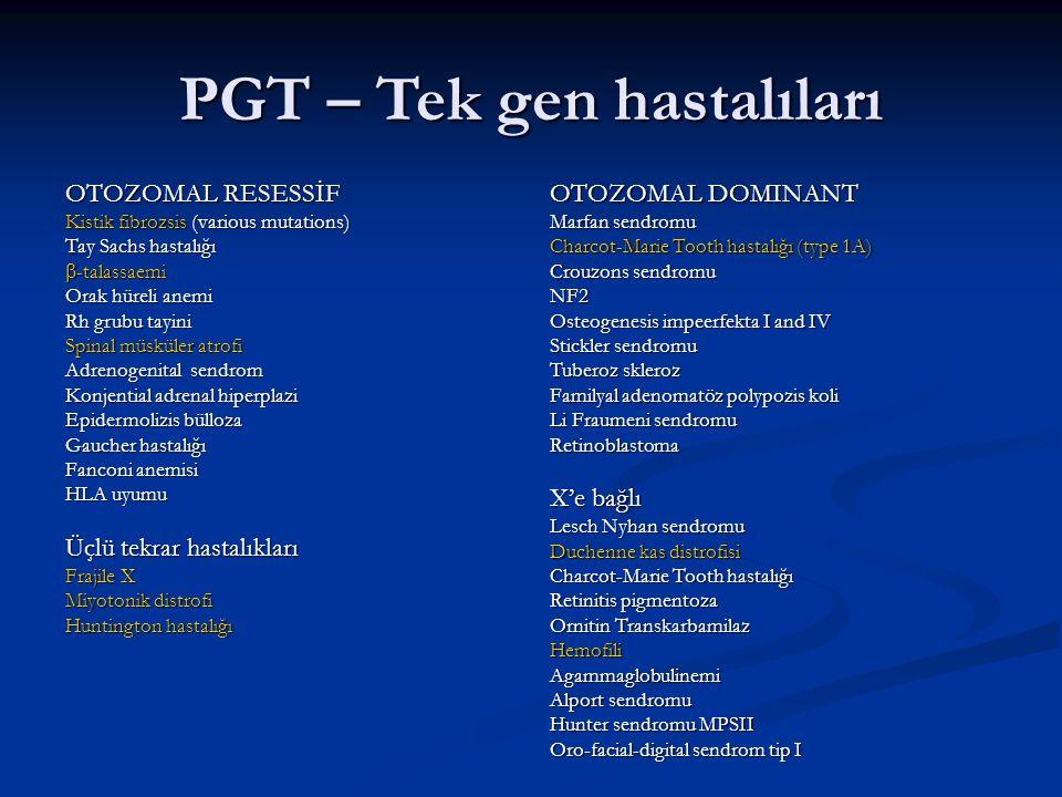PGT – Tek gen hastalıları OTOZOMAL RESESSİF Kistik fibrozsis (various mutations) Tay Sachs hastalığı  -talassaemi Orak hüreli anemi Rh grubu tayini S