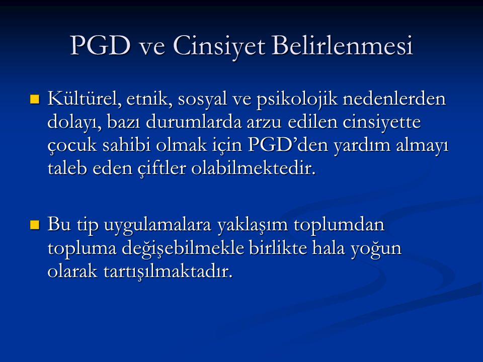 PGD ve Cinsiyet Belirlenmesi Kültürel, etnik, sosyal ve psikolojik nedenlerden dolayı, bazı durumlarda arzu edilen cinsiyette çocuk sahibi olmak için
