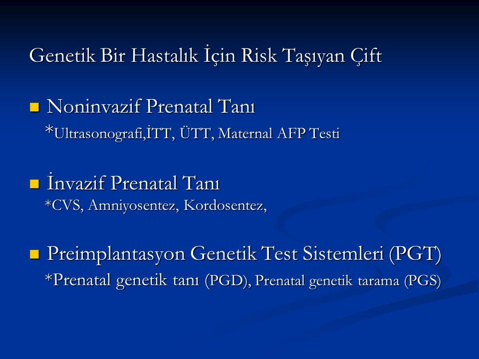 Genetik Bir Hastalık İçin Risk Taşıyan Çift Noninvazif Prenatal Tanı Noninvazif Prenatal Tanı * Ultrasonografi,İTT, ÜTT, Maternal AFP Testi * Ultrason