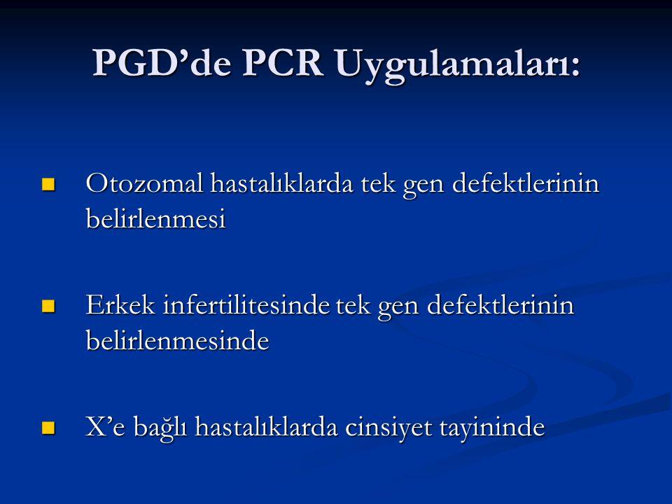 PGD'de PCR Uygulamaları: Otozomal hastalıklarda tek gen defektlerinin belirlenmesi Otozomal hastalıklarda tek gen defektlerinin belirlenmesi Erkek inf