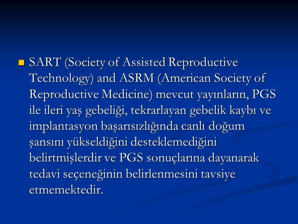SART (Society of Assisted Reproductive Technology) and ASRM (American Society of Reproductive Medicine) mevcut yayınların, PGS ile ileri yaş gebeliği,