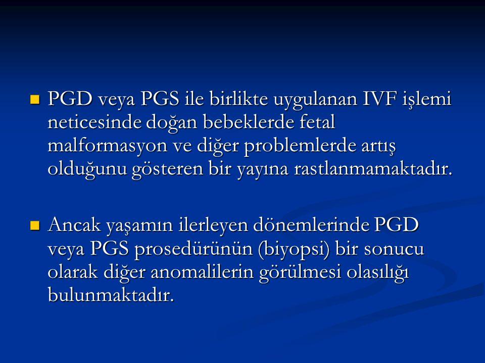 PGD veya PGS ile birlikte uygulanan IVF işlemi neticesinde doğan bebeklerde fetal malformasyon ve diğer problemlerde artış olduğunu gösteren bir yayın