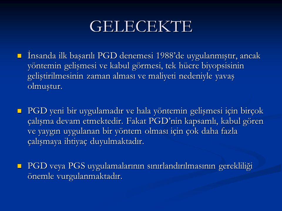 GELECEKTE İnsanda ilk başarılı PGD denemesi 1988'de uygulanmıştır, ancak yöntemin gelişmesi ve kabul görmesi, tek hücre biyopsisinin geliştirilmesinin
