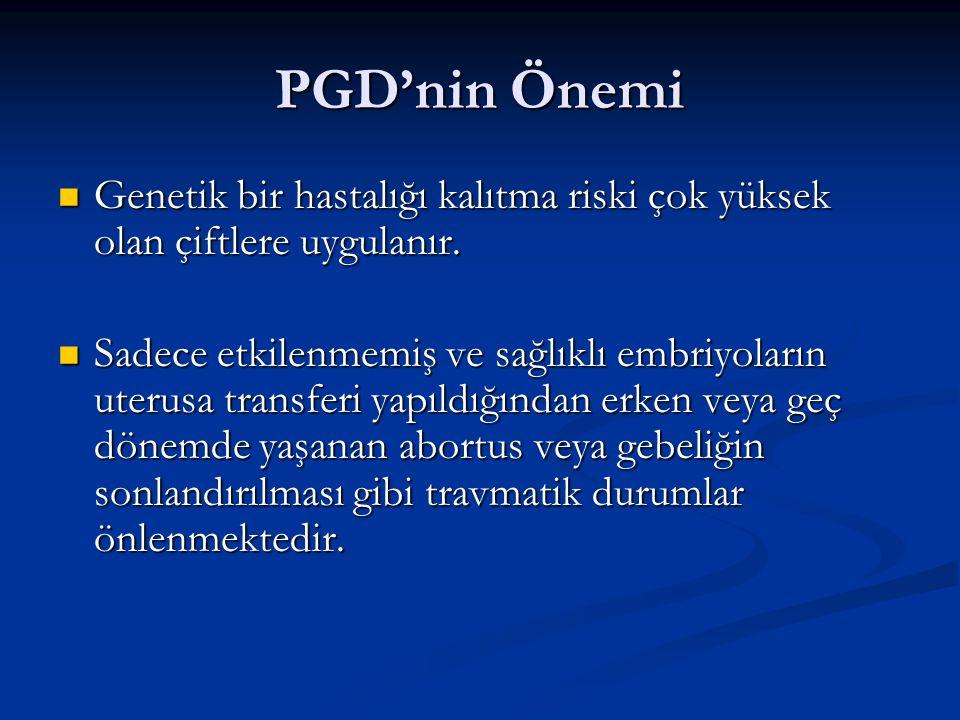 PGD'nin Önemi Genetik bir hastalığı kalıtma riski çok yüksek olan çiftlere uygulanır. Genetik bir hastalığı kalıtma riski çok yüksek olan çiftlere uyg
