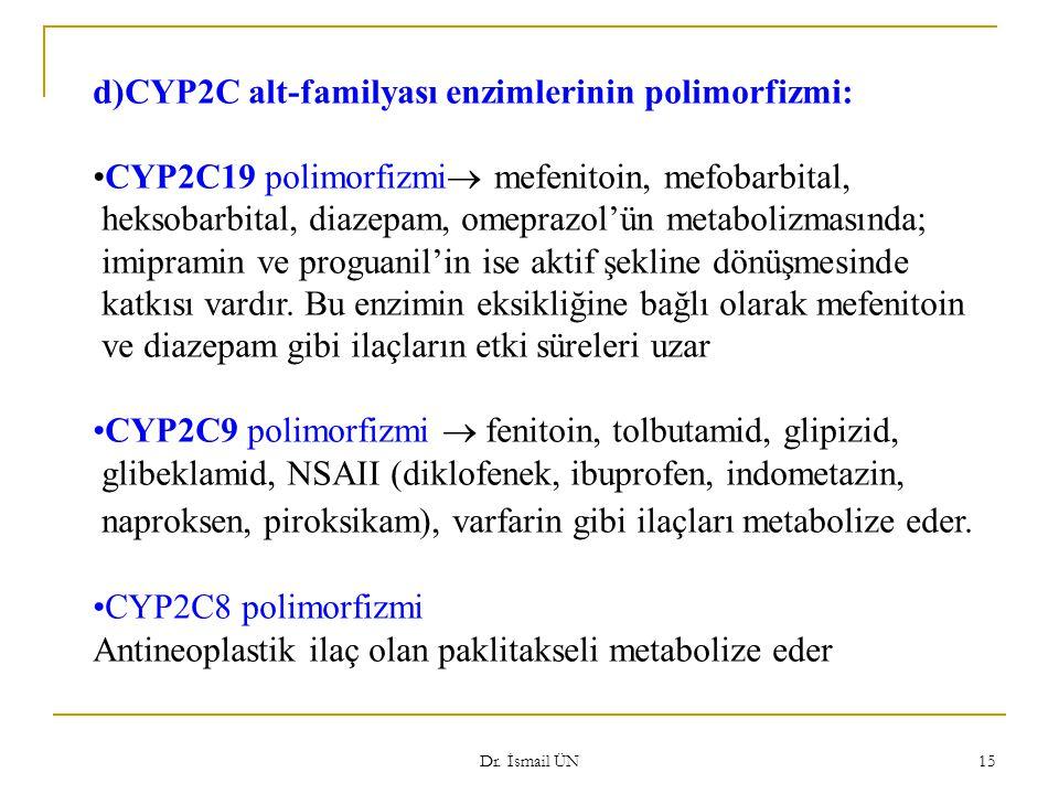 Dr. İsmail ÜN 15 d)CYP2C alt-familyası enzimlerinin polimorfizmi: CYP2C19 polimorfizmi  mefenitoin, mefobarbital, heksobarbital, diazepam, omeprazol'