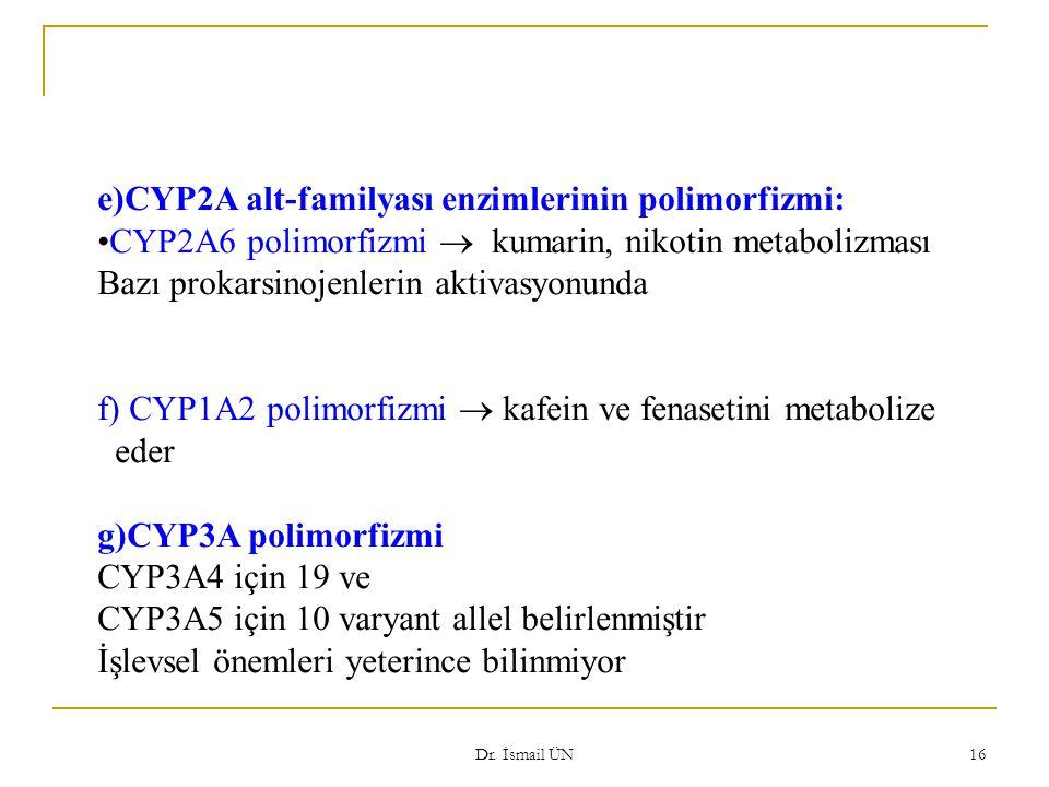 Dr. İsmail ÜN 16 e)CYP2A alt-familyası enzimlerinin polimorfizmi: CYP2A6 polimorfizmi  kumarin, nikotin metabolizması Bazı prokarsinojenlerin aktivas