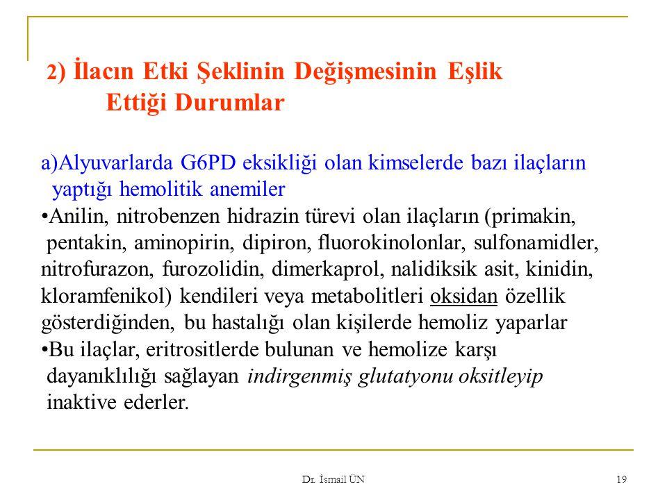 Dr. İsmail ÜN 19 2 ) İlacın Etki Şeklinin Değişmesinin Eşlik Ettiği Durumlar a)Alyuvarlarda G6PD eksikliği olan kimselerde bazı ilaçların yaptığı hemo