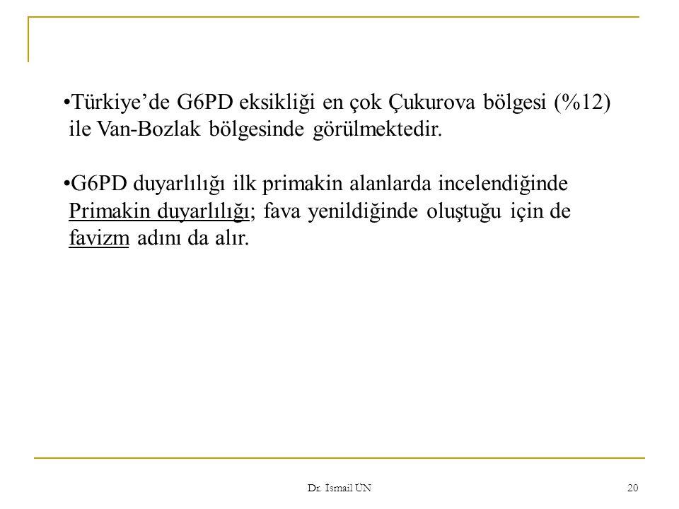 Dr. İsmail ÜN 20 Türkiye'de G6PD eksikliği en çok Çukurova bölgesi (%12) ile Van-Bozlak bölgesinde görülmektedir. G6PD duyarlılığı ilk primakin alanla