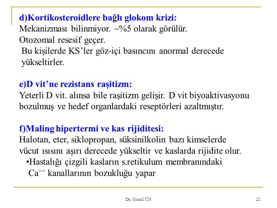 Dr. İsmail ÜN 22 d)Kortikosteroidlere bağlı glokom krizi: Mekanizması bilinmiyor. ~%5 olarak görülür. Otozomal resesif geçer. Bu kişilerde KS'ler göz-