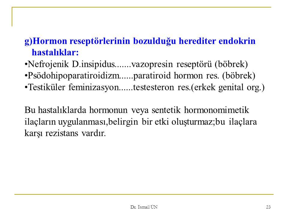Dr. İsmail ÜN 23 g)Hormon reseptörlerinin bozulduğu herediter endokrin hastalıklar: Nefrojenik D.insipidus.......vazopresin reseptörü (böbrek) Psödohi