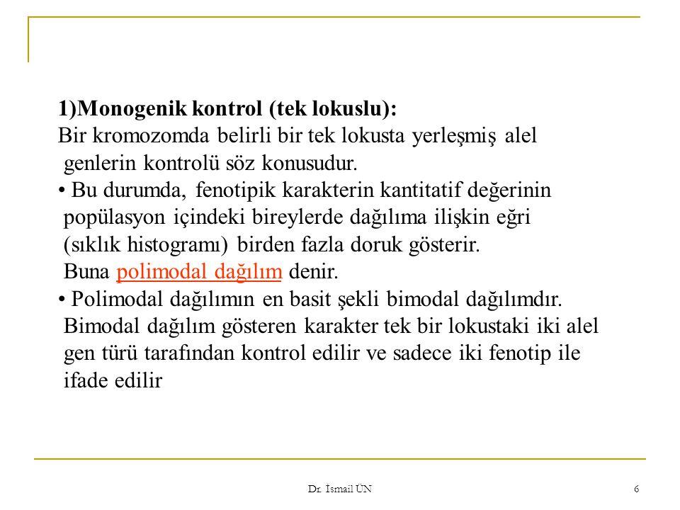 Dr. İsmail ÜN 6 1)Monogenik kontrol (tek lokuslu): Bir kromozomda belirli bir tek lokusta yerleşmiş alel genlerin kontrolü söz konusudur. Bu durumda,