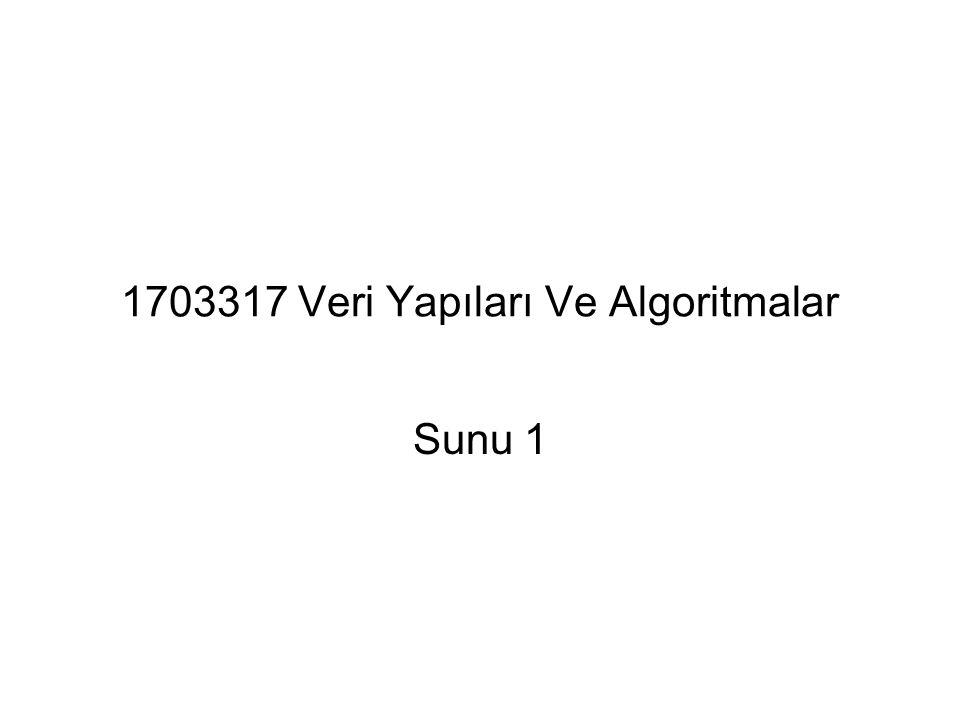 1703317 Veri Yapıları Ve Algoritmalar Sunu 1