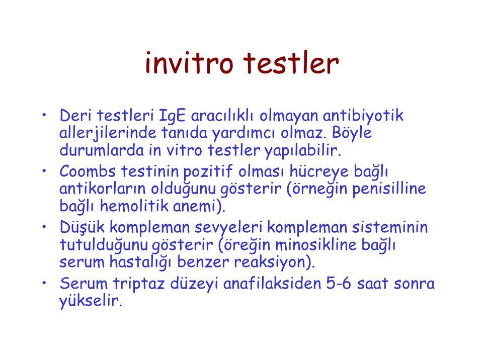 invitro testler Deri testleri IgE aracılıklı olmayan antibiyotik allerjilerinde tanıda yardımcı olmaz. Böyle durumlarda in vitro testler yapılabilir.