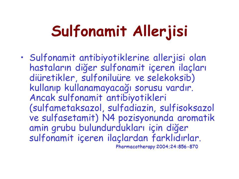 Sulfonamit Allerjisi Sulfonamit antibiyotiklerine allerjisi olan hastaların diğer sulfonamit içeren ilaçları diüretikler, sulfoniluüre ve selekoksib) kullanıp kullanamayacağı sorusu vardır.