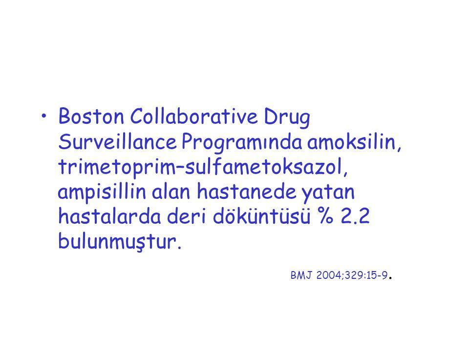Boston Collaborative Drug Surveillance Programında amoksilin, trimetoprim–sulfametoksazol, ampisillin alan hastanede yatan hastalarda deri döküntüsü %