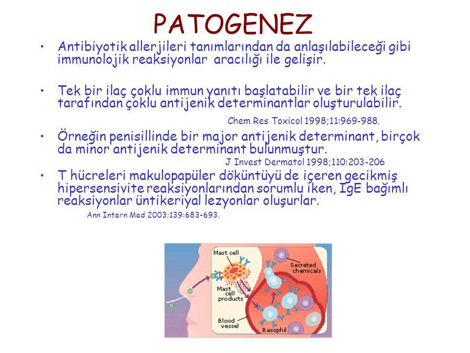 PATOGENEZ Antibiyotik allerjileri tanımlarından da anlaşılabileceği gibi immunolojik reaksiyonlar aracılığı ile gelişir. Tek bir ilaç çoklu immun yanı
