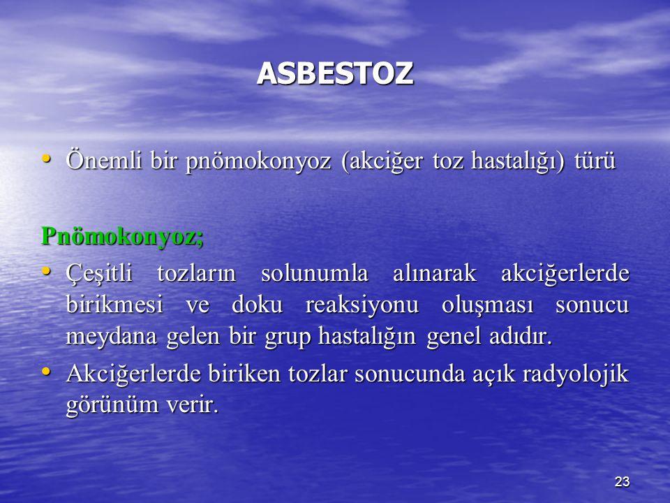 23 ASBESTOZ Önemli bir pnömokonyoz (akciğer toz hastalığı) türü Önemli bir pnömokonyoz (akciğer toz hastalığı) türüPnömokonyoz; Çeşitli tozların solun