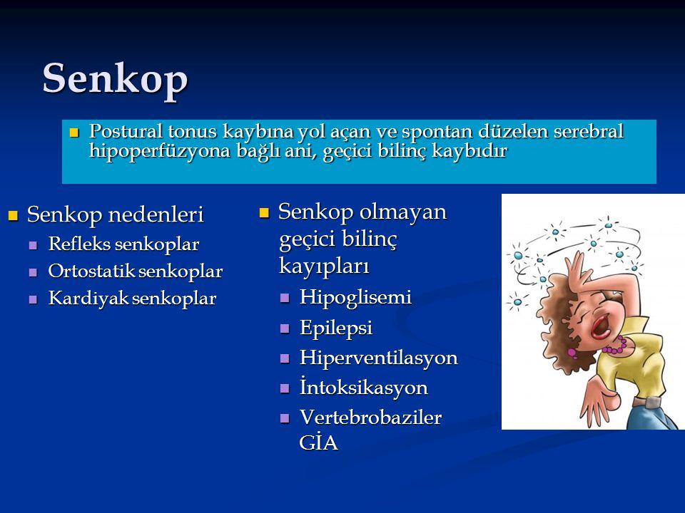 Senkop Senkop nedenleri Senkop nedenleri Refleks senkoplar Refleks senkoplar Ortostatik senkoplar Ortostatik senkoplar Kardiyak senkoplar Kardiyak sen