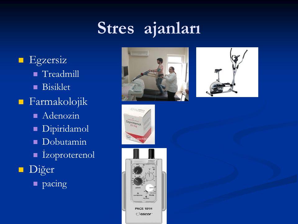 Stres ajanları Egzersiz Treadmill Bisiklet Farmakolojik Adenozin Dipiridamol Dobutamin İzoproterenol Diğer pacing