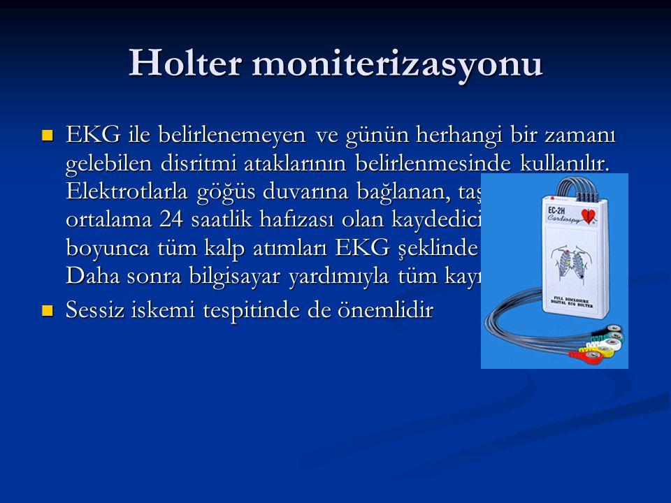 Holter moniterizasyonu EKG ile belirlenemeyen ve günün herhangi bir zamanı gelebilen disritmi ataklarının belirlenmesinde kullanılır. Elektrotlarla gö