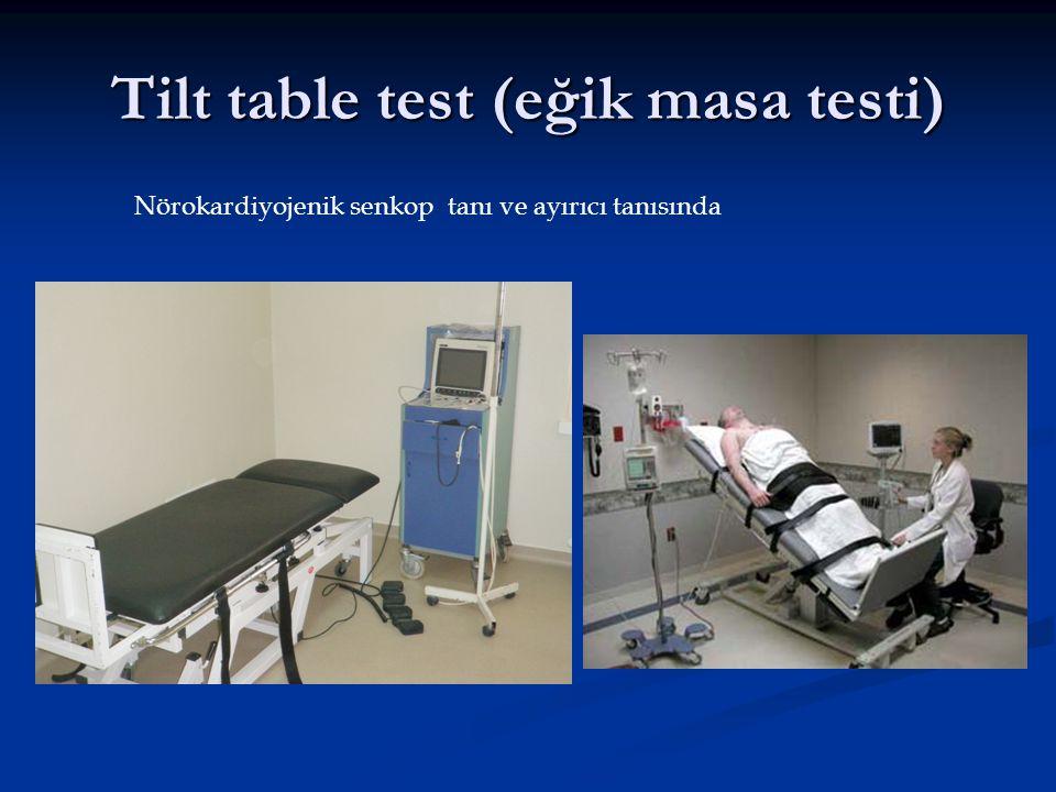 Tilt table test (eğik masa testi) Nörokardiyojenik senkop tanı ve ayırıcı tanısında