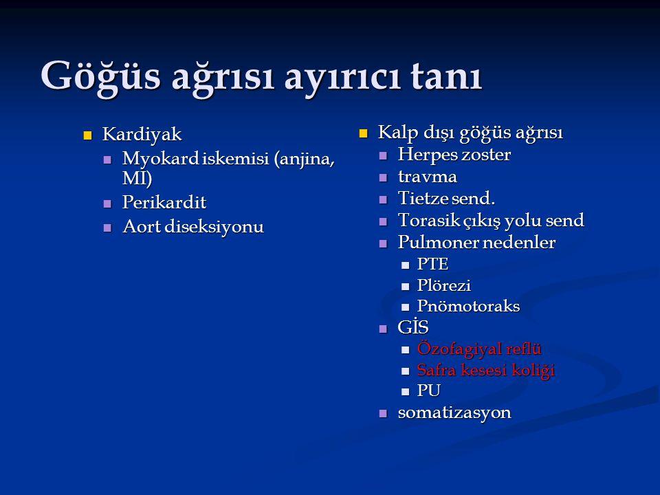 Göğüs ağrısı ayırıcı tanı Kardiyak Kardiyak Myokard iskemisi (anjina, MI) Myokard iskemisi (anjina, MI) Perikardit Perikardit Aort diseksiyonu Aort di