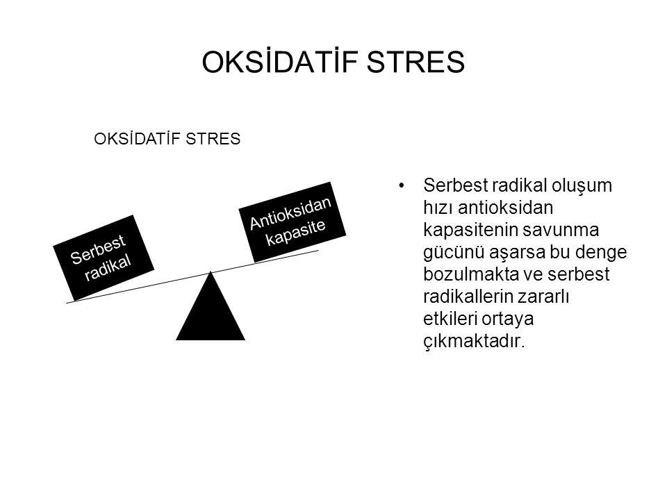 OKSİDATİF STRES Serbest radikal oluşum hızı antioksidan kapasitenin savunma gücünü aşarsa bu denge bozulmakta ve serbest radikallerin zararlı etkileri ortaya çıkmaktadır.