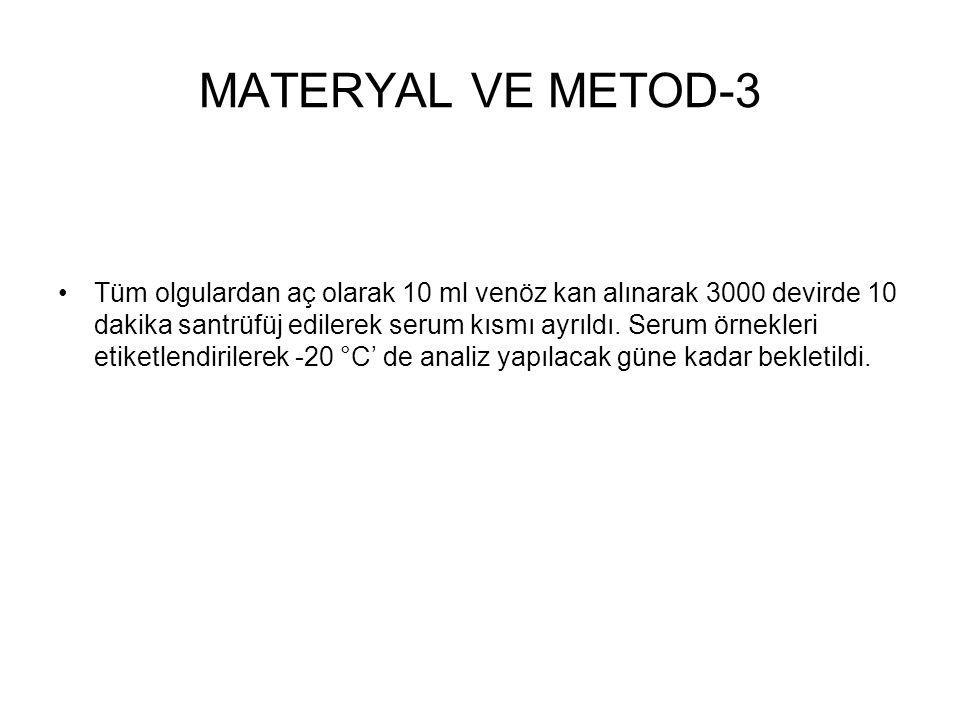 MATERYAL VE METOD-3 Tüm olgulardan aç olarak 10 ml venöz kan alınarak 3000 devirde 10 dakika santrüfüj edilerek serum kısmı ayrıldı. Serum örnekleri e