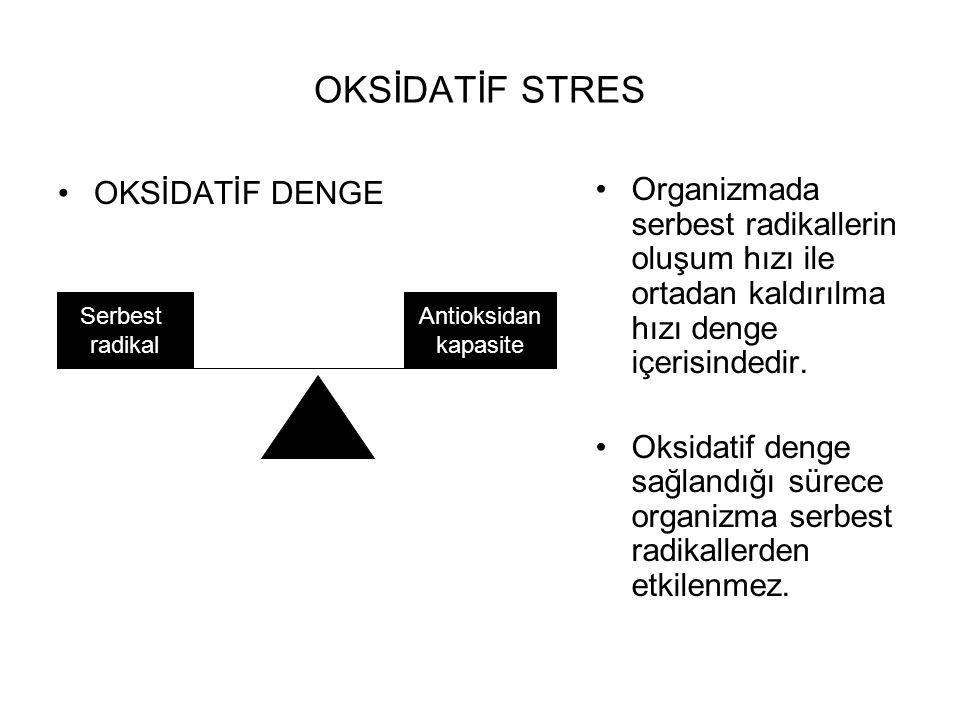 OKSİDATİF STRES OKSİDATİF DENGE Organizmada serbest radikallerin oluşum hızı ile ortadan kaldırılma hızı denge içerisindedir. Oksidatif denge sağlandı