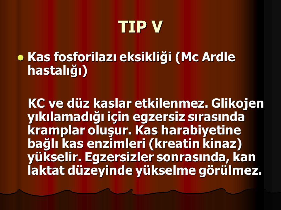 TIP V Kas fosforilazı eksikliği (Mc Ardle hastalığı) Kas fosforilazı eksikliği (Mc Ardle hastalığı) KC ve düz kaslar etkilenmez. Glikojen yıkılamadığı