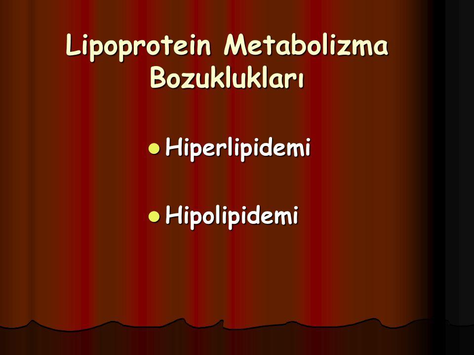 Lipoprotein Metabolizma Bozuklukları Hiperlipidemi Hiperlipidemi Hipolipidemi Hipolipidemi