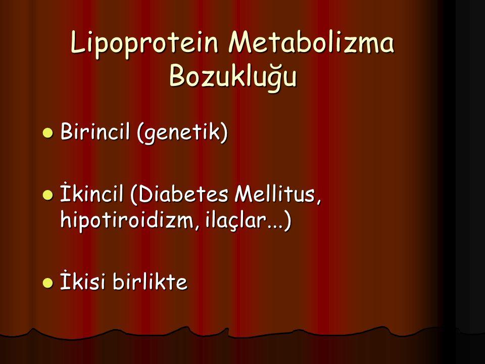 Lipoprotein Metabolizma Bozukluğu Birincil (genetik) Birincil (genetik) İkincil (Diabetes Mellitus, hipotiroidizm, ilaçlar...) İkincil (Diabetes Mellitus, hipotiroidizm, ilaçlar...) İkisi birlikte İkisi birlikte