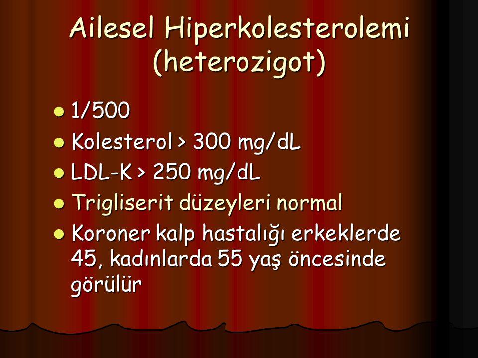 Ailesel Hiperkolesterolemi (heterozigot) 1/500 1/500 Kolesterol > 300 mg/dL Kolesterol > 300 mg/dL LDL-K > 250 mg/dL LDL-K > 250 mg/dL Trigliserit düz
