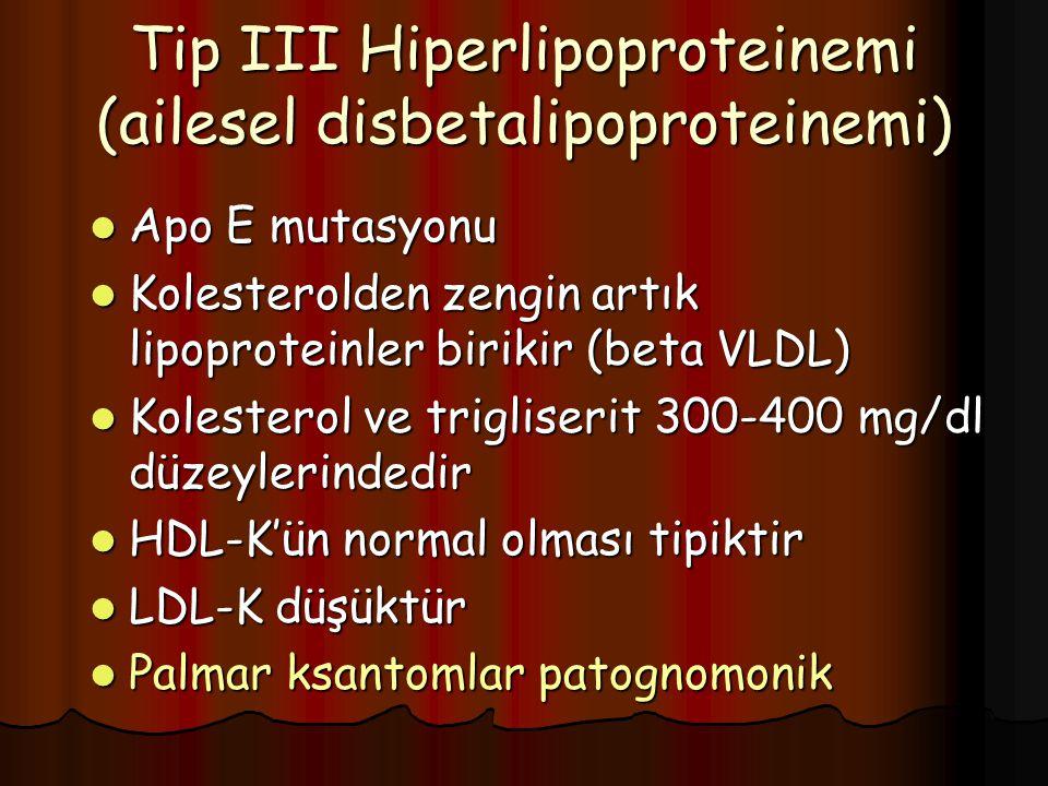 Tip III Hiperlipoproteinemi (ailesel disbetalipoproteinemi) Apo E mutasyonu Apo E mutasyonu Kolesterolden zengin artık lipoproteinler birikir (beta VL