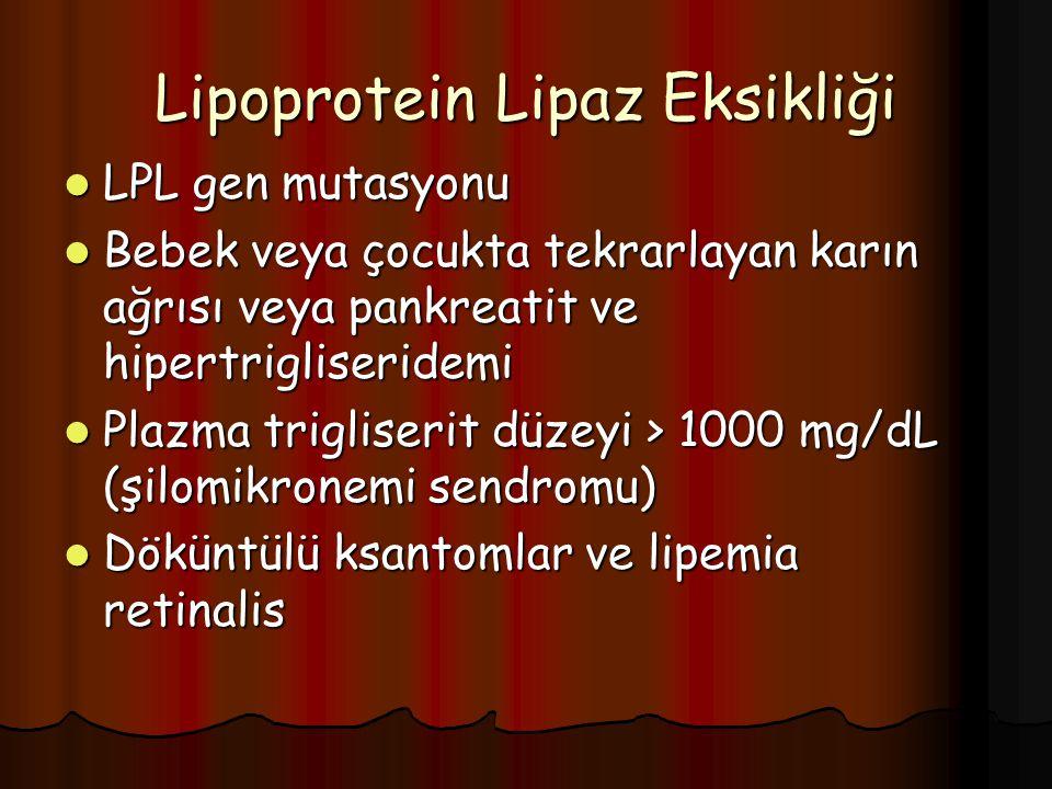 Lipoprotein Lipaz Eksikliği LPL gen mutasyonu LPL gen mutasyonu Bebek veya çocukta tekrarlayan karın ağrısı veya pankreatit ve hipertrigliseridemi Bebek veya çocukta tekrarlayan karın ağrısı veya pankreatit ve hipertrigliseridemi Plazma trigliserit düzeyi > 1000 mg/dL (şilomikronemi sendromu) Plazma trigliserit düzeyi > 1000 mg/dL (şilomikronemi sendromu) Döküntülü ksantomlar ve lipemia retinalis Döküntülü ksantomlar ve lipemia retinalis