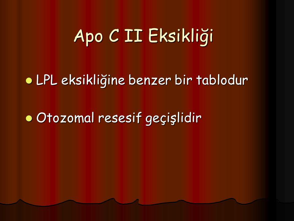 Apo C II Eksikliği LPL eksikliğine benzer bir tablodur LPL eksikliğine benzer bir tablodur Otozomal resesif geçişlidir Otozomal resesif geçişlidir
