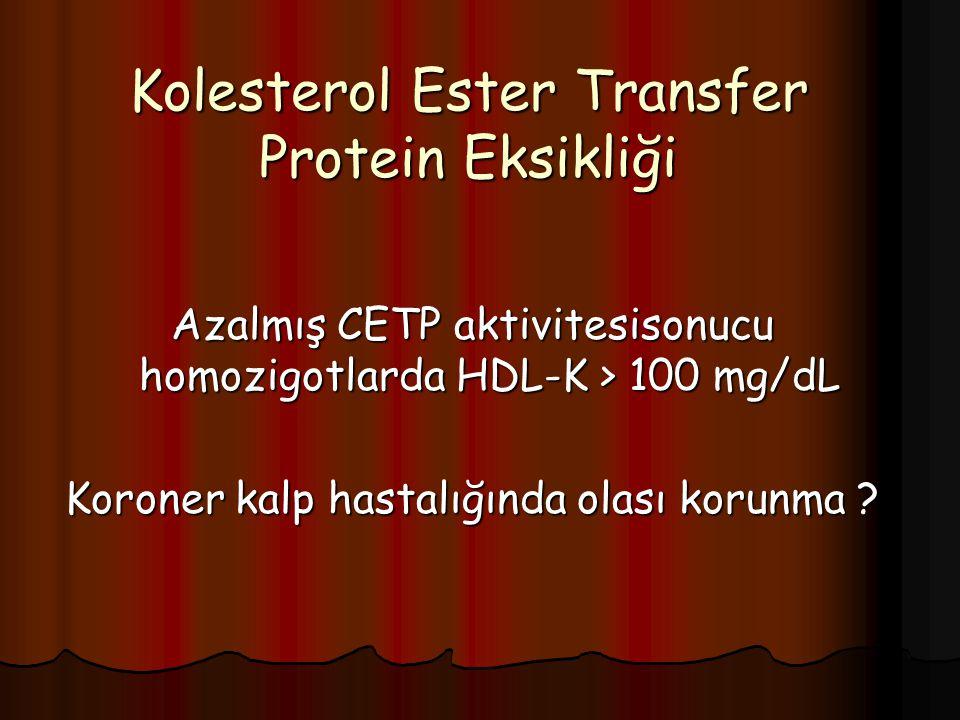 Kolesterol Ester Transfer Protein Eksikliği Azalmış CETP aktivitesisonucu homozigotlarda HDL-K > 100 mg/dL Koroner kalp hastalığında olası korunma ?