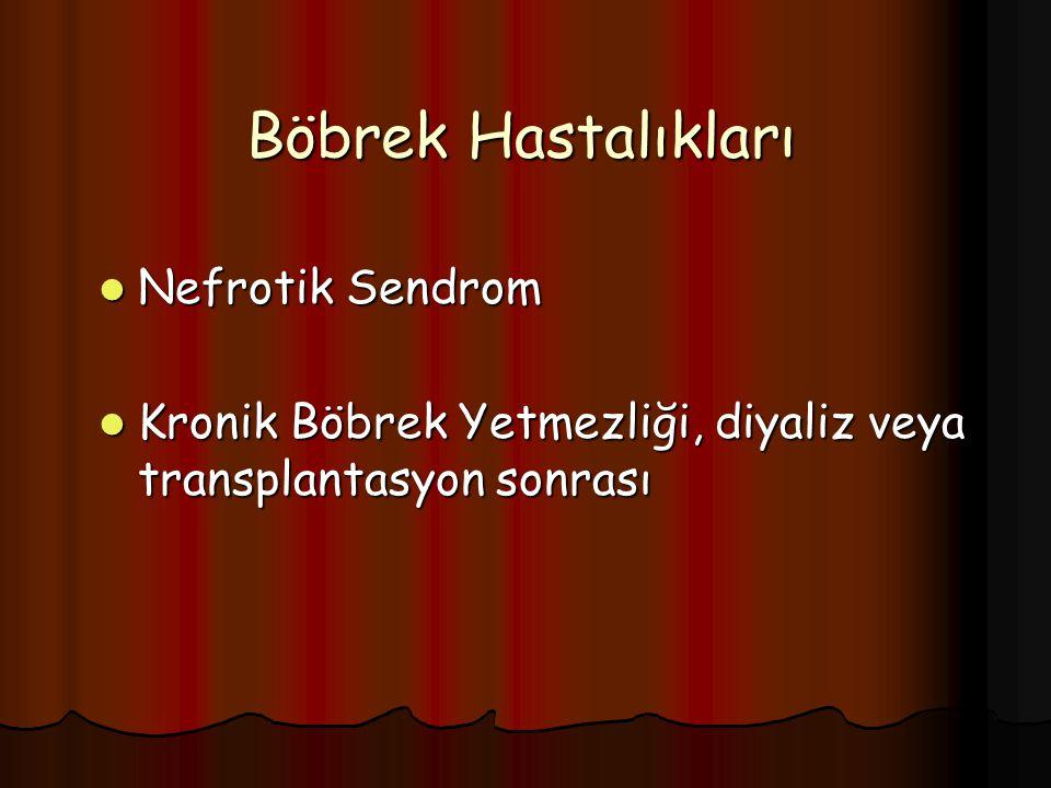 Böbrek Hastalıkları Nefrotik Sendrom Nefrotik Sendrom Kronik Böbrek Yetmezliği, diyaliz veya transplantasyon sonrası Kronik Böbrek Yetmezliği, diyaliz veya transplantasyon sonrası