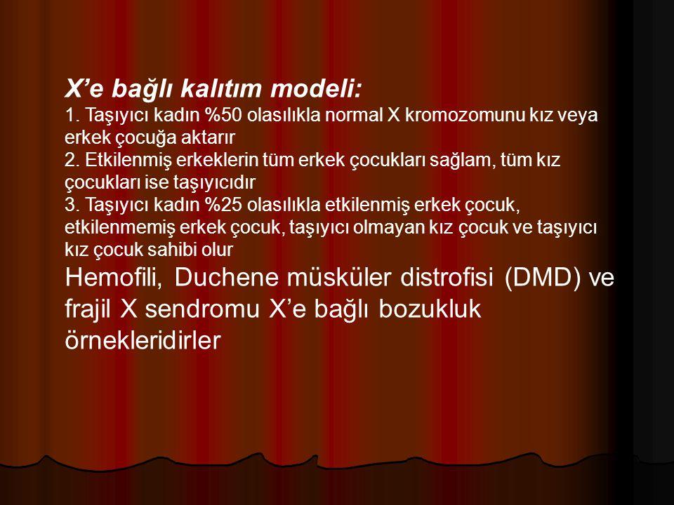 X'e bağlı kalıtım modeli: 1. Taşıyıcı kadın %50 olasılıkla normal X kromozomunu kız veya erkek çocuğa aktarır 2. Etkilenmiş erkeklerin tüm erkek çocuk