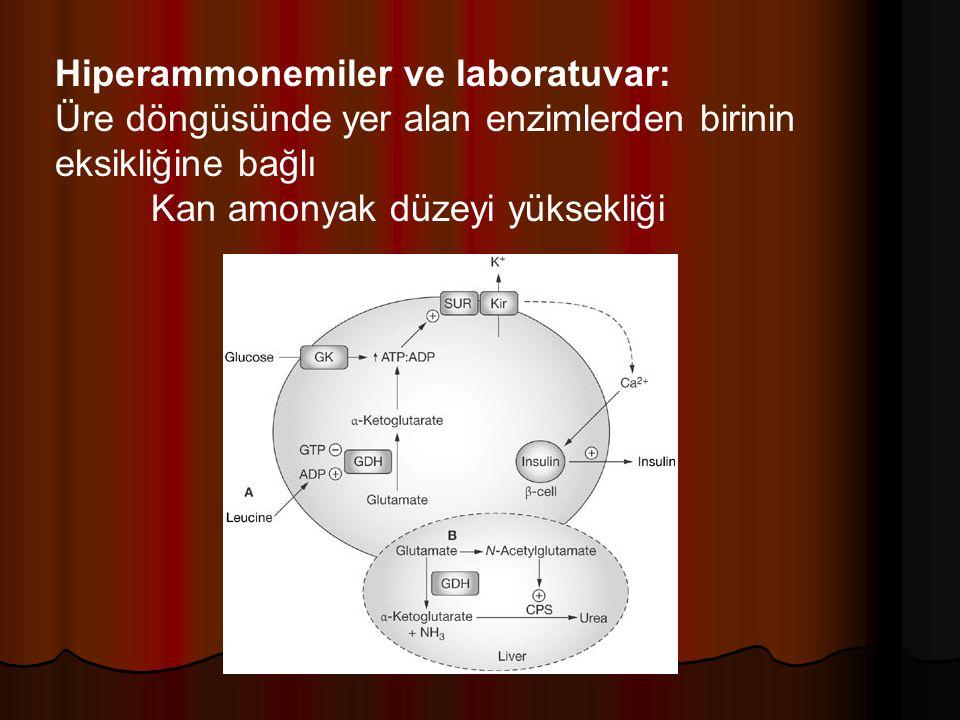 Hiperammonemiler ve laboratuvar: Üre döngüsünde yer alan enzimlerden birinin eksikliğine bağlı Kan amonyak düzeyi yüksekliği