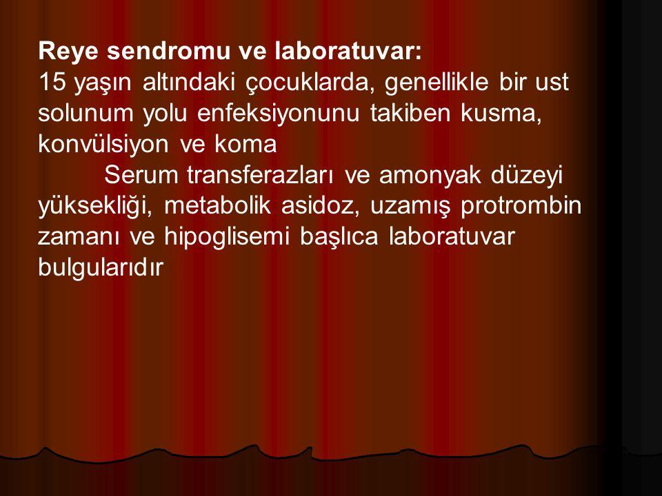 Reye sendromu ve laboratuvar: 15 yaşın altındaki çocuklarda, genellikle bir ust solunum yolu enfeksiyonunu takiben kusma, konvülsiyon ve koma Serum tr
