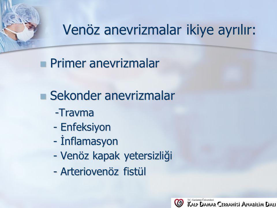Venöz anevrizmalar ikiye ayrılır: Venöz anevrizmalar ikiye ayrılır: Primer anevrizmalar Primer anevrizmalar Sekonder anevrizmalar Sekonder anevrizmalar -Travma -Travma - Enfeksiyon - Enfeksiyon - İnflamasyon - İnflamasyon - Venöz kapak yetersizliği - Venöz kapak yetersizliği - Arteriovenöz fistül - Arteriovenöz fistül