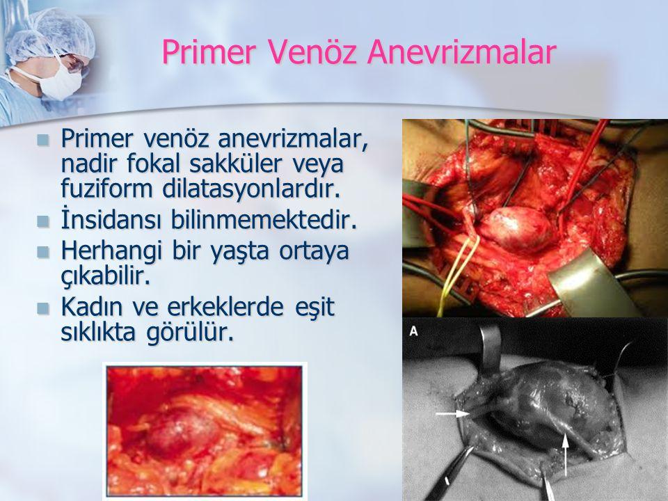 Primer Venöz Anevrizmalar Primer venöz anevrizmalar, nadir fokal sakküler veya fuziform dilatasyonlardır.